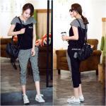 **สินค้าหมด Set_bt1601-Size-L-สีดำ / ชุดเซ็ท 2 ชิ้น(เสื้อ+กางเกง) เสื้อแขนสั้นสกรีนลายอก กางเกงขายาวสี่ส่วนเอวยืด มีกระเป๋าข้าง งานผ้าคอตตอนสีพื้นตัดลายสก็อต