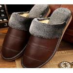 รองเท้าแตะใส่เดินในบ้าน สำหรับ คุณผู้ชาย ด้านหน้า วัสดุ หนังแท้ เพิ่มความหรูหรา มีระดับ สีน้ำตาล ขนนิ่มใส่สบาย 44345