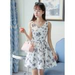 **สินค้าหมด Dress3953-Size-XL เดรสแขนกุดคอวีทรงสวย ซิปหลังใส่ง่าย มีซับในทั้งชุด ผ้าชีฟองลายดอกไม้เนื้อนุ่มมีน้ำหนักทิ้งตัวสวย