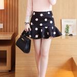 **สินค้าหมด Skirt317-Size-XXL กระโปรงชายระบายซิปหลังสีดำลายจุดใหญ่ ผ้าเนื้อหนาเรียบสวยมีน้ำหนักไม่ยับง่าย
