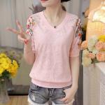 **สินค้าหมด Blouse3683-Size-XXL-สีชมพู / เสื้อแฟชั่นผ้าลูกไม้มีซับในแขนปักลายดอกไม้ ผ้าลูกไม้เนื้อดีเกรดพรีเมียมยืดได้นิดหน่อย