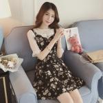 Dress4133-Size-XXL เดรสสายเดี่ยวลายดอกไม้โทนสีดำ มีซิปหลังใส่ง่าย สายผูกเอว ผ้าชีฟองเนื้อดีหนาสวย