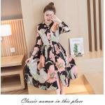 Dress4160-Size-M Maxi Dress แม็กซี่เดรสยาวคอปกเชิ้ต กระดุมผ่าหน้า แขนยาวกระดุมข้อมือ มีซับใน ผ้าชีฟองเนื้อดีนุ่มเกรดพรีเมียมลายดอกไม้โทนชมพูพื้นสีดำ