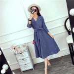 **สินค้าหมด Dress4020-Size-XL ชุดเดรสยาวคอวีมีปก เอวสม็อคยางยืด(มีผ้าผูกเอว) ผ้าไมโครเนื้อดีหนาสวย สีพื้นฟ้าคราม