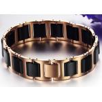 สร้อยข้อมือผู้ชาย 316L Stainless Steel ไม่ลอกไม่ดำ ผสมผสาน กับ เซรามิก สีเงิน ทอง ดำ Rose Gold เพิ่มความหรูหรา ให้กับข้อมือของคุณ 808373