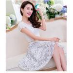 Dress4198-Size-L เดรสชีฟองสีพื้นขาวคอแต่งลูกไม้ถักดอกตัดต่อกระโปรงลูกไม้เนื้อดีหนาสวย เอวแต่งเข็มขัดมุกสวยหรู