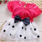 ชุดกระโปรงเด็กผู้หญิง อายุ 6 - 24 เดือน เดรสเด็กผู้หญิง เสื้อยืดแขนสั้น สีแดง แตงโม กระโปรง ระบายสีขาว ลายจุด ติดโบว์ เดรสเด็ก น่ารัก ใส่เที่ยว 209799_4