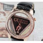 นาฬิกาข้อมือ ผู้หญิง สายหนัง หน้าปัด Guess ประดับเพชร สีดำ no 49255_1