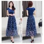Dress4141-Size-3XL / Maxi Dress แม็กซี่เดรสยาวสีพื้นตัดต่อกระโปรงลายดอกไม้โทนสีน้ำเงิน มีซับใน ซิปข้างใส่ง่าย ผ้าชีฟองเนื้อดีนุ่มทิ้งตัวสวย