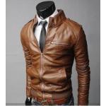 เสื้อคลุมผู้ชายแขนยาว สไตล์ แจ็คเก็ตหนัง สีน้ำตาลอ่อน แมน ๆ Jacket หนัง ดีไซน์ คอตั้ง เอวจั้ม แขนจั้ม แต่งซิปด้านหน้า no 628170_1