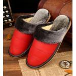 รองเท้าแตะใส่เดินในบ้าน สำหรับ คุณผู้ชาย ด้านหน้า วัสดุ หนังแท้ เพิ่มความหรูหรา มีระดับ สีแดง ขนสีเทา นิ่มใส่สบาย 44345_2