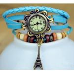 นาฬิกาข้อมือ ผู้หญิง สายหนังถัก สไตล์สร้อยข้อมือ วินเทจ สีฟ้า สาวหวาน ห้อย ตุ้งติ้ง หอไอเฟล กรุงปารีส no 76509_2