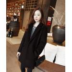 SIZE M : เสื้อโค้ทกันหนาว สไตล์เกาหลี ทรงสวย Classic ผ้าวูลเนื้อดี บุซับในกันลม ใส่แบบตั้งปกขึ้นก็เก๋ สีดำ พร้อมส่ง