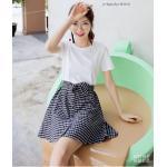 **สินค้าหมด Dress4100-Size-S เดรสน่ารักผ้าคอตตอนเนื้อหนานุ่มสีพื้นขาว ตัดต่อกระโปรงผ้าทอญี่ปุ่นลายสก็อตโทนสีขาวดำ