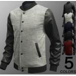 แจ็คเก็ตหนัง ผสม ผ้า Cotton Jacket สำหรับนักแข่งมอเตอร์ไซค์ ดีไซน์ ส่วนแขนเป็นหนัง เสื้อคลุมผู้ชายแขนยาว เท่ ๆ สีเทาอ่อน สว่าง no 18945_2