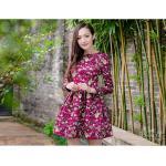 **สินค้าหมด Dress3969-Size-XL ชุดเดรสแขนยาวทรงสวย ซิปหลัง งานตัดเย็บอย่างดี บุซับในทั้งชุด ผ้าหนาเนื้อดีลายดอกไม้วินเทจโทนสีชมพูเข้ม
