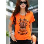 เสื้อยืดผู้หญิง ลายมงกุฏ เสื้อยืดแฟชั่น สีส้ม สีสันสดใส เก๋ ๆ ติด เพชร สวย ๆ ใส่เที่ยว ใส่อยู่บ้าน เสื้อยืด แขนสั้น คอกลม ใส่สบาย 933396_1