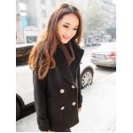 L : เสื้อโค้ทกันหนาว สีดำ ทรงสวย รุ่นนี้ดูหรูตรงกระดุมเลยจ้า ผ้าวูลผสมสำลี พร้อมบุซับในกันลม พร้อมส่งเลยจ้าา