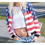 เสื้อ แจ็คเก็ต ผู้หญิง เสื้อใส่ขี่มอเตอร์ไซค์ เสื้อ แจ็คเก็ต ลายธงชาติ อเมริกา เสื้อ แจ็คเก็ต แบบเท่ ๆ 459600