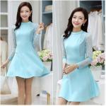 Dress3977-Size-XXL-สีฟ้า ชุดเดรสทรงสวย แขนยาวลูกไม้เนื้อนุ่ม ผ้าเนื้อโฟมหนานิ่มมีน้ำหนักทิ้งตัวสวย