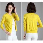 Blouse3602-สีเหลือง / เสื้อคลุมคาร์ดิแกนไหมพรมเนื้อนุ่มหนาปานกลาง กระดุมหน้า งานปักลายหัวใจตลอดทั้งตัว ผ้านุ่มใส่สบาย