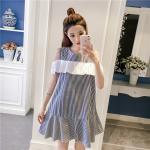 **สินค้าหมด Dress4157-Size-XL-สีกรม / เดรสทรงปล่อยเว้าไหล่แต่งระบายสีขาวช่วงอก ผ้าคอตตอนลายริ้วเนื้อดีนุ่มใส่สบาย งานสวยใส่ง่ายน่ารักมาก