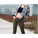 เสื้อ แจ็คเก็ต ผู้หญิง เสื้อใส่ขี่มอเตอร์ไซค์ ซ้อนบิ๊กไบค์ แบบเท่ ๆ บอมเบอร์ เสื้อแนวร็อค แขนยาว เขียวทหาร 952969