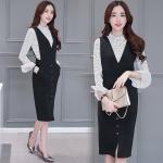 Set_bs1464-Size-S ชุด 2 ชิ้น(เสื้อ+เอี๊ยม)แยกชิ้น เสื้อแขนยาวระบายผ้าเนื้อทรายลายจุดสีขาว+เอี๊ยมกระโปรงสีดำ