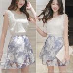 Dress4195-Size-L เดรสลูกไม้สีขาวตัดต่อกระโปรงผ้าไหมแก้วลายดอกไม้ เอวสม็อคยางยืด มีซับในอย่างดีทั้งชุด