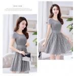 **สินค้าหมด Dress4136-Size-XXL ชุดเดรสลูกไม้อกชีฟองสีพื้นเทา ช่วงเอวเข้ารูป ซิปข้างใส่ง่าย มีซับในอย่างดีทั้งชุด ดีไซน์เรียบหรูคลาสสิค
