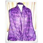 ผ้าพันคอ Paris สีม่วง ผ้าไหมแท้ 100%