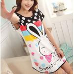 ชุดนอนผู้หญิง แบบเสื้อคลุม ยาวเหนือเข่า ชุดนอน ผ้า Cotton ลาย กระต่าย น้อย น่ารักสุด ๆ 666847
