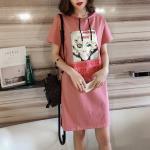 Dress4063-Size-4XL-สีชมพู / เดรสฮู้ดทรงโอเวอร์ไซส์ สกรีนลายด้านหน้า ผ้าคอตตอนผสมสแปนเด็กซ์เนื้อนุ่มมีน้ำหนักยืดขยายได้เยอะ