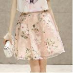 **สินค้าหมด Skirt319-Size-L กระโปรงผ้าชีฟองสีชมพูลายดอกไม้มีซับในซิปหลังเอวสม็อคยางยืด