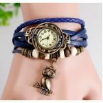นาฬิกาข้อมือ ผู้หญิง สายหนังถัก สไตล์สร้อยข้อมือ วินเทจ สีน้ำเงิน ห้อย นกฮูก
