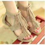 รองเท้าแฟชั่นส้นแบน รองเท้าแบบเปิดหน้าเท้า ดีไซน์ หนังกลับ ทำเป็นริ้ว ประดับคริสตัล ออกวินเทจ รองเท้าใส่เที่ยว สไตล์เกาหลี สีเบจ 4048976_2