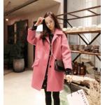Size : XL สีชมพูตามรูป เสื้อโค้ทกันหนาว ทรงเก๋ ไม่เหมือนใคร บุซับในกันลม สีชมพู ผ้าวูลมีซับใน