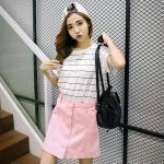Skirt308-Size-M-สีชมพู กระโปรงยีนส์ทรงเอ กระดุมหน้า ผ้ายีนส์แท้เนื้อดีแบบนุ่ม งานน่ารักแมทช์กับเสื้อได้หลายแบบ