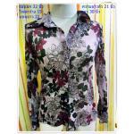 Used 001 เสื้อเชิ้ตผู้หญิงใส่ทำงานแขนยาว ลายดอกไม้ ชมพูอมม่วง