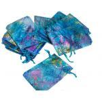 ถุงผ้าไหมแก้ว ขนาด 9 คูณ 12 CM แบบพิม์ลาย สีฟ้า พิมพ์ลาย ต้นไม้ สวยเก๋ ไม่เหมือนใคร ถุงใส่ของชำร่วย สีฟ้า พิมพ์ลาย 100 ใบ 22340