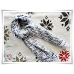 ผ้าพันคอ ผ้าซีฟอง สีขาว