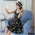 Dress4109-Size-S-สีดำ / เดรสคอวีทรงสวยลายดอกไม้ มีซิปหลังใส่ง่าย มีซับในอย่างดี ผ้าชีฟองเนื้อดีเกรดพรีเมียม