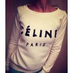 เสื้อยืดผู้หญิง แขนยาว เสื้อยืด แฟชั่น CELINE Paris สีขาว เสื้อยืดคอกว้าง แขนยาว แฟชั่น ยุโรป 163899