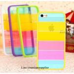เคส iphone 5 สีรุ้ง Rainbow case ขอบเหลือง ฟรีปากกา Touch screen