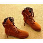 รองเท้าบูทผู้หญิง หนังแท้ รองเท้ามาตินบูท รองเท้าหุ้มข้อ ส้นแบน สีพื้น สไตล์ สาวคาวบอย เท่ ๆ สีน้ำตาลอิฐ ออกส้ม รองเท้าผ้าใบแบบหุ้มข้อสูง 399771_1