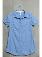 เสื้อเชิ้ตตัวยาวสีฟ้า มีกระเป๋าข้าง
