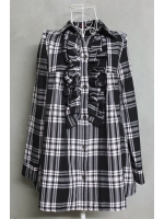 เสื้อเชิ้ตตัวยาวลายสก็อตสีชมพูอ่อน-ดำ