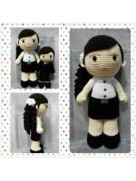 GB1ตุ๊กตาถักไหมพรมชุดนักศึกษาหญิง สูง 20 นิ้ว