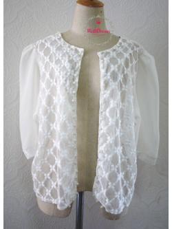 เสื้อคลุมลูกไม้ แขนสี่ส่วนชีฟองสีขาว ปักลูกไม้ กระดุมมุกน่ารัก สำหรับสาวไซส์อวบ/อ้วน