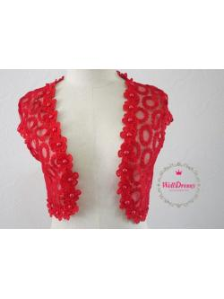 เสื้อคลุมแขนล้ำสีแดง ลายวงล้อลูกไม้ ปักมุกรอบชายเสื้อสวย